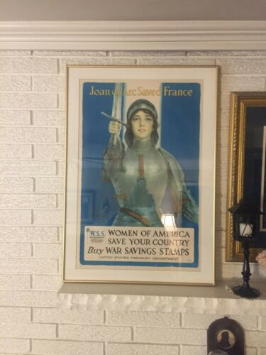 """Joan of Arc Saved France"" Original C1918 WWI Lithograph War Bond Poster Coffin"