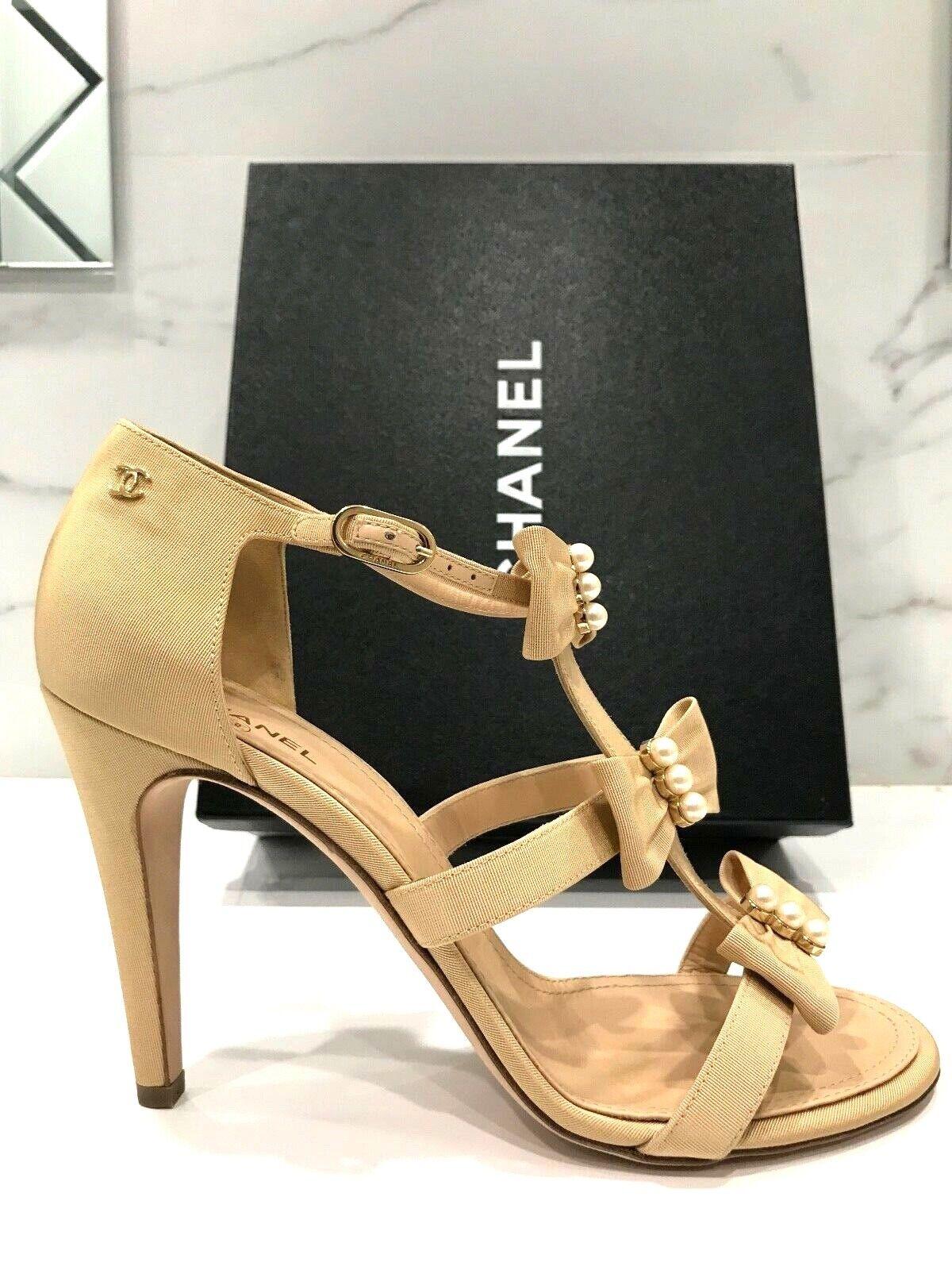 NIB Chanel Grosgrain Beige Satin Pearl Bow Open Strap Sandals Heels Shoes 42
