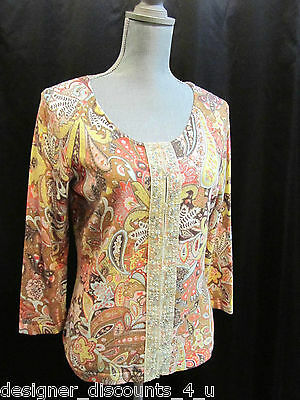 Talbots paisley floral bead multi color knit top button cardigan sweater size S