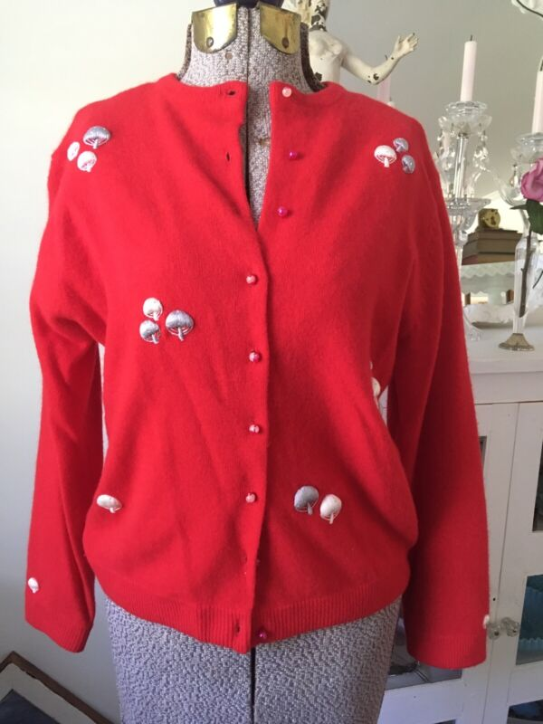 Vintage 1960s RED Cashmere Lambswool SWEATER Cardigan Embroidered Mushrooms