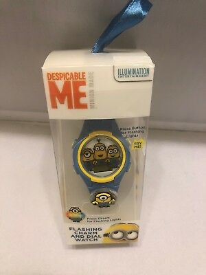 Despicable ME Boys Watch Flashing Light Dial Watch Blue Yellow Kids