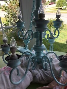 9 bulb blue chandelier- avail