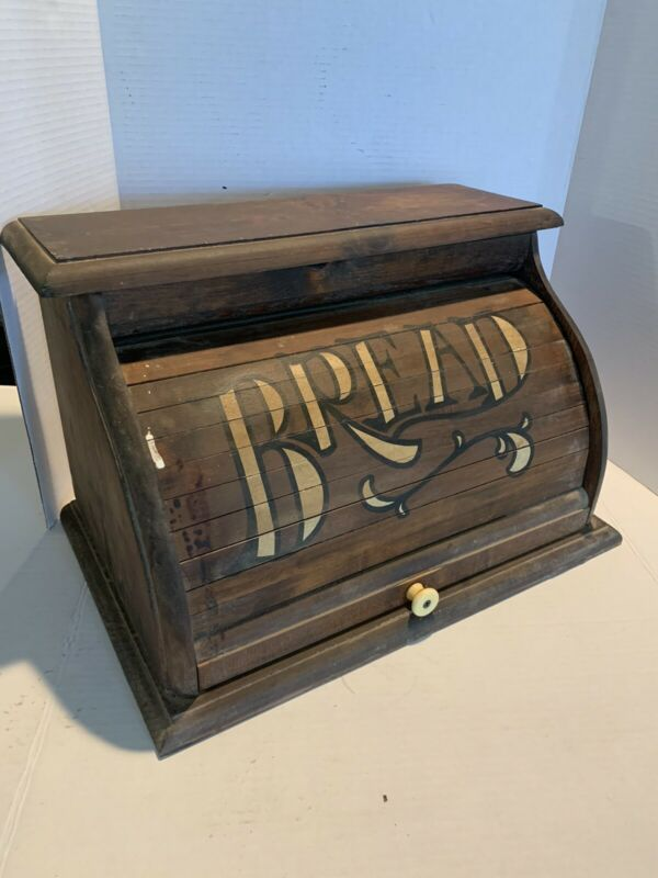 Vintage Wood Roll Top Bread Box White Lettering