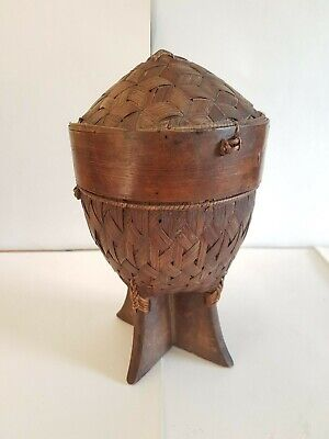 Antique Southeast Asian Sticky Rice Basket Small Woven Wooden Stand
