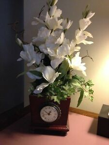 Storage Clock & Deluxe Floral Arrangement