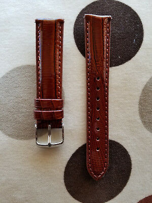 18mm Teju Lizard Brown Polish Genuine Leather EZ-PIN Watch Band,Strap Men Woman