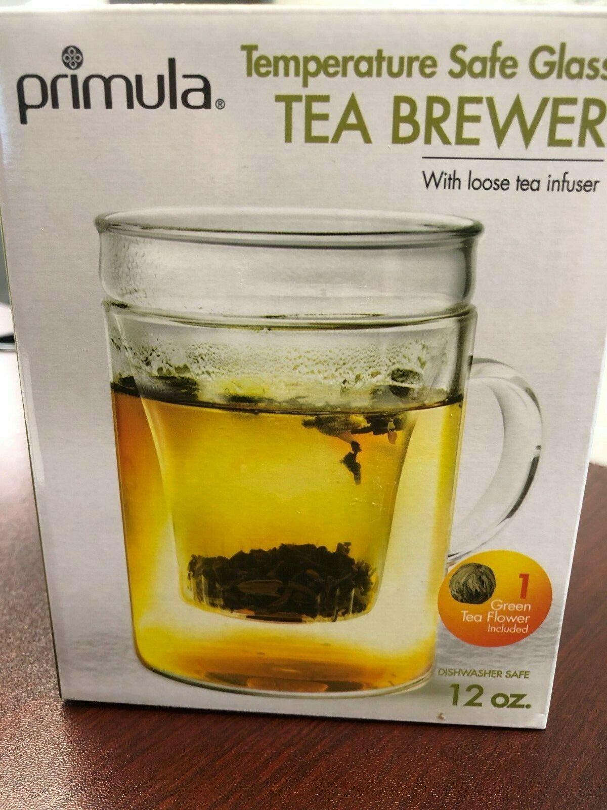 Primula Glass Mug with Loose Tea Infuser Brewer, 12 Oz w Tea