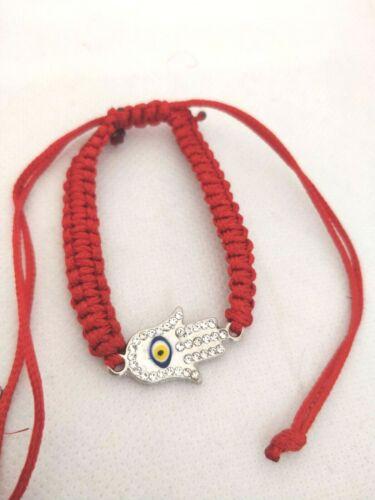 Handmade Hamza Hand with Blue Bead Evil Eye Adjustable Red Hand Bracelet