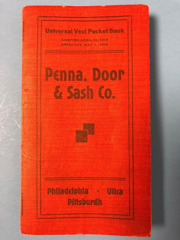 1919 PENNA. Door & Sash Co Vest Pocket Book Inventories & Price List
