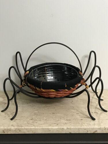 Vintage Longaberger Autumn Basket w/ Iron Halloween Spider Legs Table Decoration