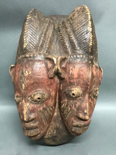 AFRICAN ART DOUBLE-FACED YORUBA MASK
