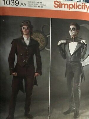 Simplicity 1039 Mens Steampunk Cosplay Slim Suits Tails Costume Pattern Sz 38-44