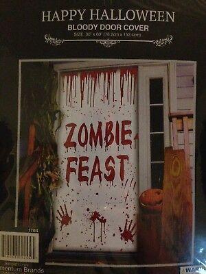 """Halloween Door Cover Decoration Bloody Zombie Feast 30""""x60"""""""