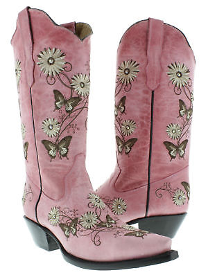 Casual Western Cowboy Boots (Womens Casual Pink Western Cowboy Cowgirl Leather Boots Butterfly Flowers Snip )