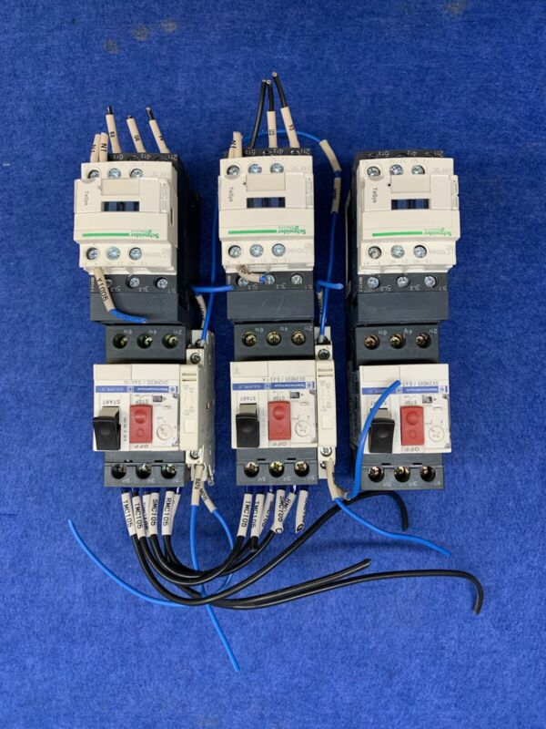 Schneider Electric Motor Contactor Units (Set of 3) Used Free Shipping
