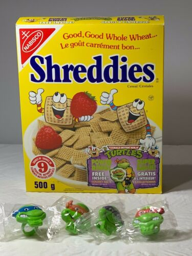 Shreddies Cereal Box 1990 Nabisco with 4 Teenage Mutant NinjaTurtle Power Rings