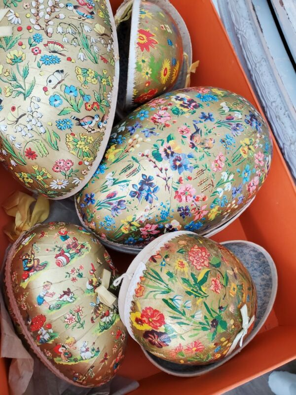 VINTAGE GERMAN PAPER MACHE LOT OF (5) LARGE EASTER EGG CANDY CONTAINERS