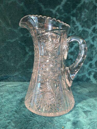 Antique Cut Brilliant Glass Pitcher