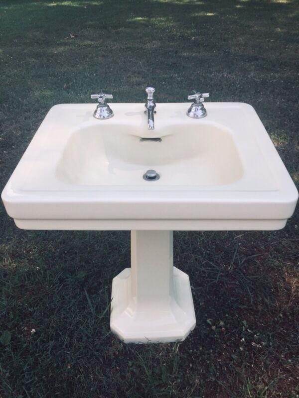 Antique 1933 Pale Yellow Ceramic Porcelain Pedestal Sink Vintage