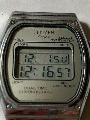 Vintage Digital Citizen Seven Dual Time Chronograph WORKS No Band W2-101