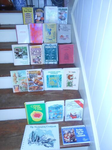 LOT OF 21 VINTAGE SPIRAL BOUND COMMUNITY COOK BOOKS FUNDRAISERS CHURCH SCHOOL ++