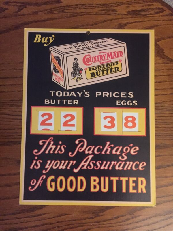 RARE COUNTRY MAID BUTTER DEGRAFF CREAMERY OHIO CHANGEABLE CARDBOARD STORE SIGN
