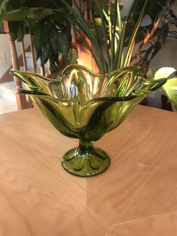 "MCM VIKING ART GLASS Large 11"" PEDESTAL BOWL COMPOTE 6 PETAL Avocado EPIC LINE"