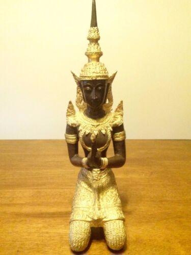 "Antique / Vintage Gilt Bronze Thai Statue Teppanom Buddha Guardian Angel 16"""