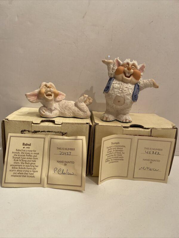 Lot Krystonia Trumph & Babul Figurine Figure - 1980's w/ Certificate & Box