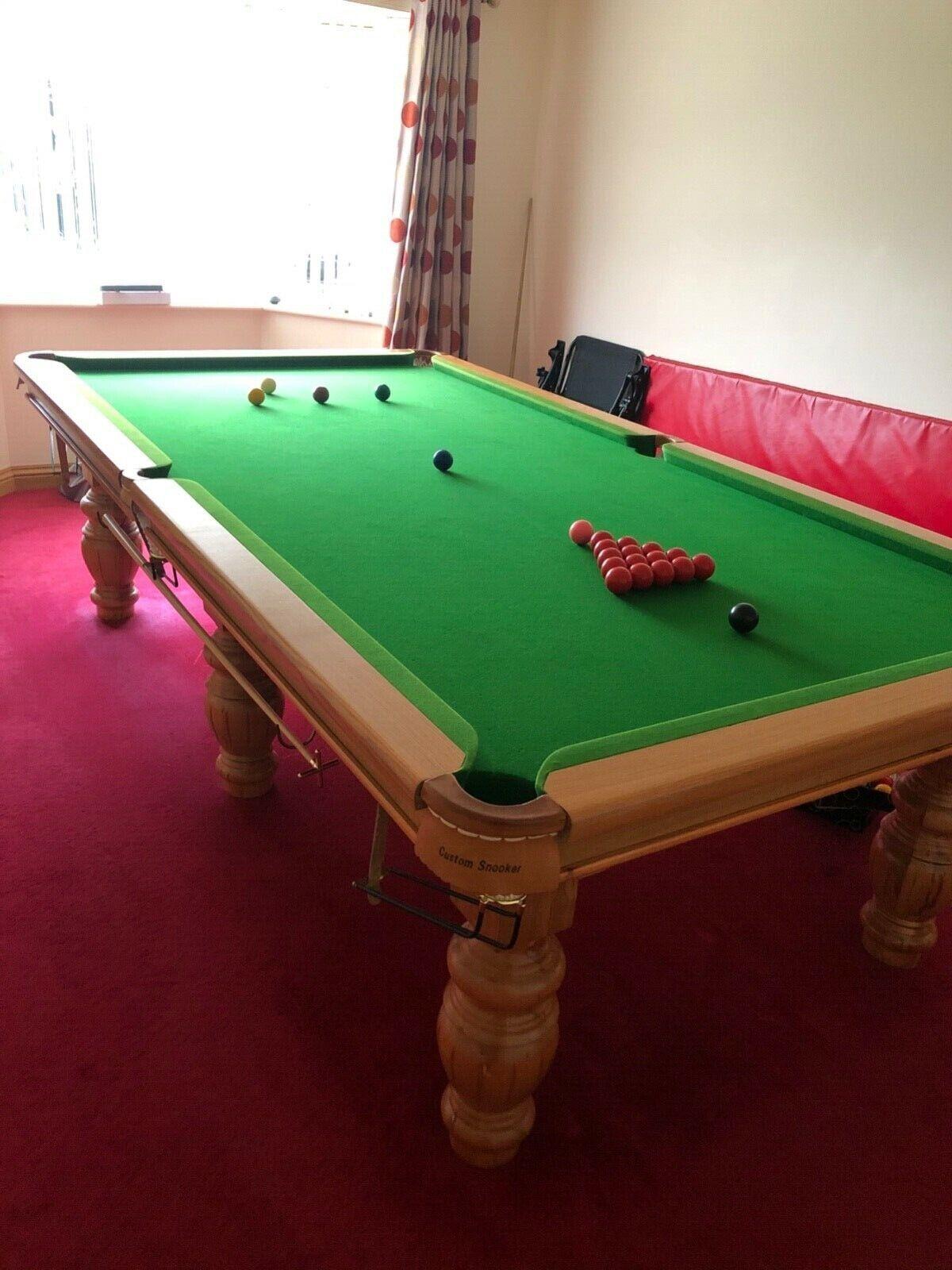 3/4 snooker table, full slate bed, oak