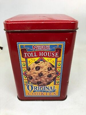 Vintage Advertising Ad Nestle Toll House Cookies Metal Tin Can Red Container