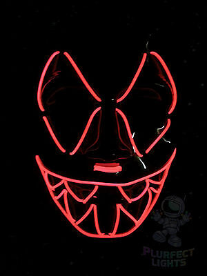 Halloween Edm Parties (Neon RED Sharp Tooth EDC EDM Rave Party Festival Handmade Halloween Costume)