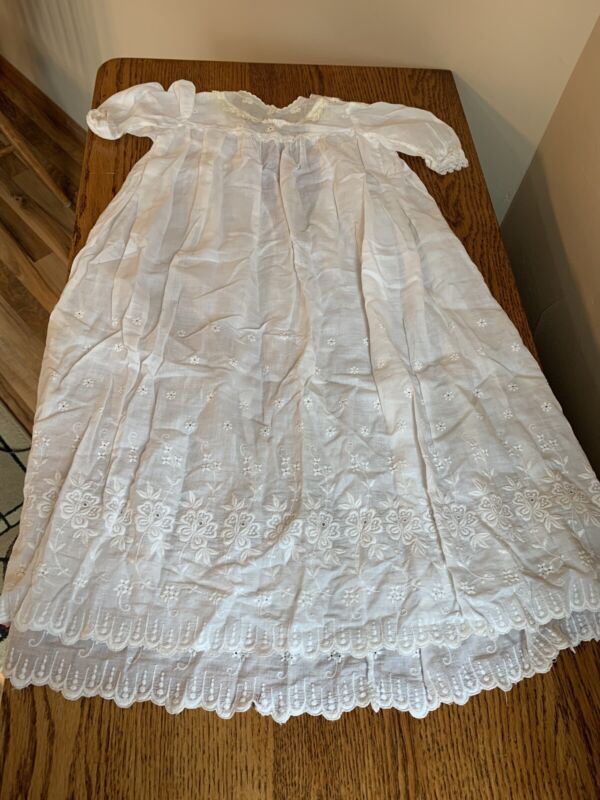 Antique 2-Piece Baptismal Christening Gown with Underslip; Embroidered