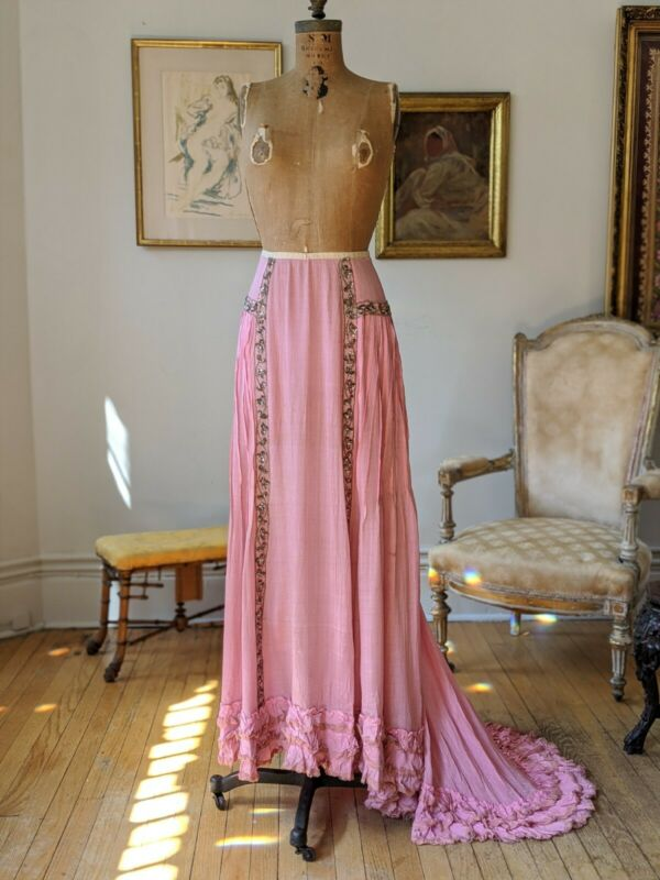 Antique Victorian Skirt Pink Crepe Silk Net Lace Sequin Embroidery Full Train