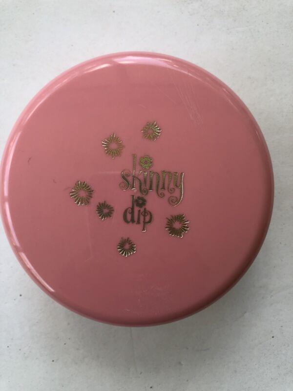 Vintage Dusting Powder Box Skinny Dip Pink with Powder Puff