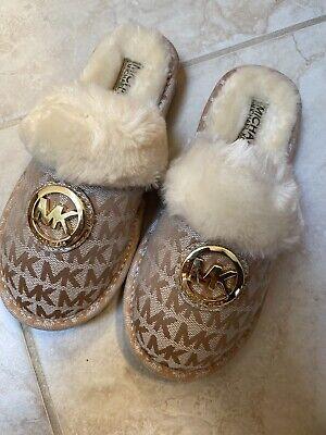Girls Michael Kors Grace Tana Slip On Camel Slipper Furry Size 1