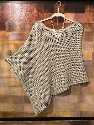 """Light Mint Green (CHICO'S Dominique Sutton Poncho """"Mint Shimmer"""" Light Green NOSZ NWT msrp)"""