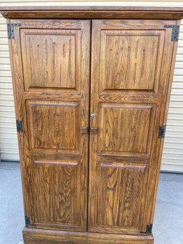 BRANDT RANCH OAK ARMOIRE TWO DOOR CLOSET WARDROBE FOR HANGING W/ DRAWERS-SHELVES