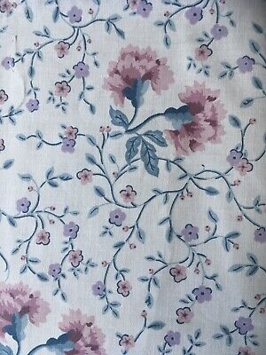 Vintage Laura Ashley Cotton Fabric Remnants Pink Blue Carnations