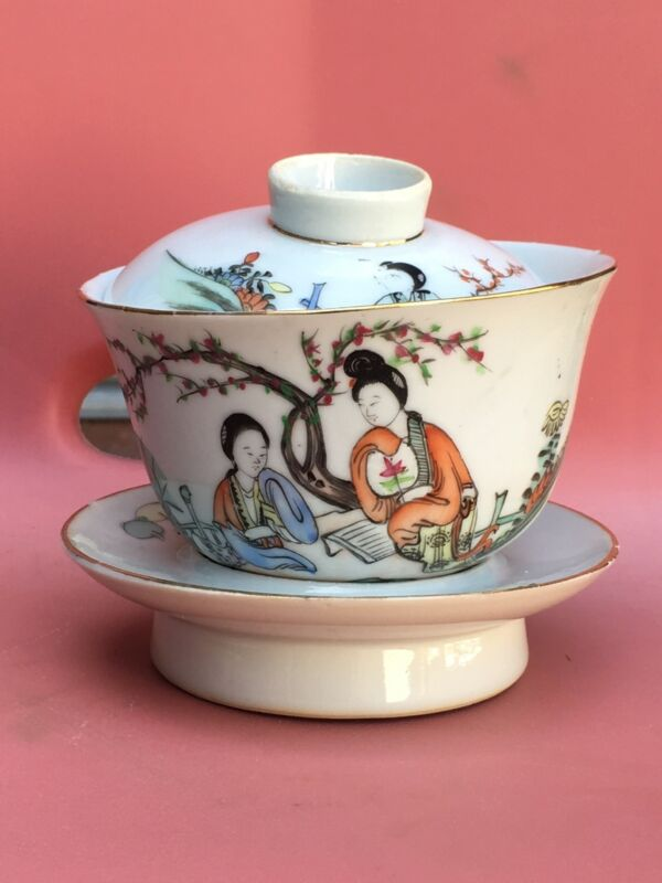 Vintage Chinese Republic Porcelain Famille Rose Tea Bowl Cup Cover Stand Gaiwan