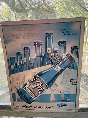"Vintage 1993 7Up ""The Fresh Up"" Metal Sign, Family Drink Advertising, 17""x 13"""