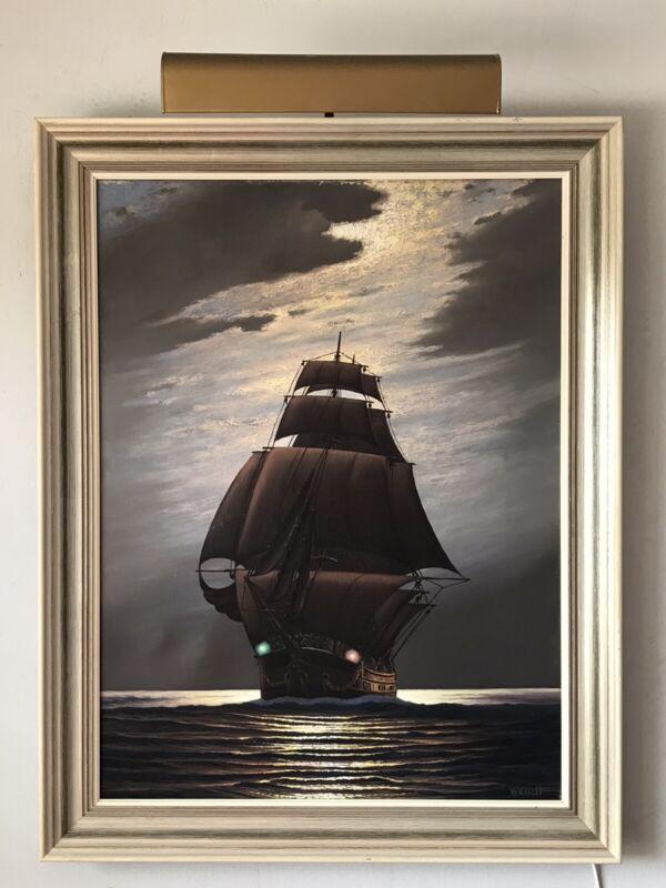 VINTAGE GERMAN IMPRESSIONIST NAUTICAL SAILING SHIP SEASCAPE OIL PAINTING 1950S