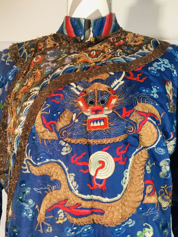Antique Qing Dynasty Imperial Robe Chinese Embroidered Five Claw Dragon