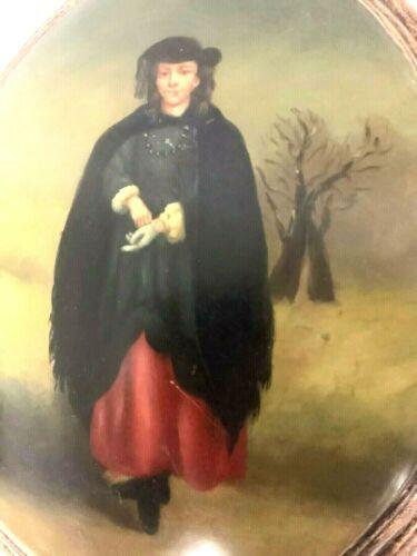 Antique Victorian Hand Painted Bubble Wood Wealthy Lady Original Portrait