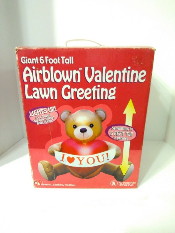 GEMMY AIRBLOWN INFLATABLE VALENTINES DAY 6' Lighted Teddy Bear w/ I LOVE YOU ❤️
