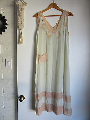 VTG 20s 30s SILK & LACE ice blue SLIP DRESS nightgown negligee 1920s flapper L
