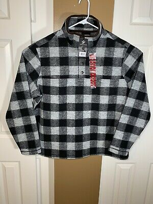 John Wayne Wooly Plaid Check Fleece Pullover 1/4 Snap Jacket Shirt Sweater XL
