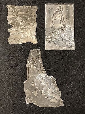 Antique Metal Women Swimming Letterpress Print Type Cut Ornament Blocks - Lot 3
