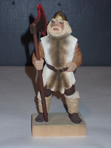"""Henning Norway Handcarved Carved Wood Viking Berserker With Battle Axe 9"""" ~READ~"""