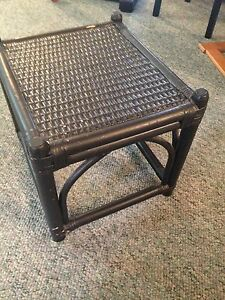 "Black painted WICKER Side TABLE, 11x16x13"", $3"